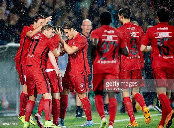 Morten Duncan Rasmussen of Midtjylland celebrates his goal during the UEFA Europa League match between FC Midtjylland and Southampton FC at MCH Arena...