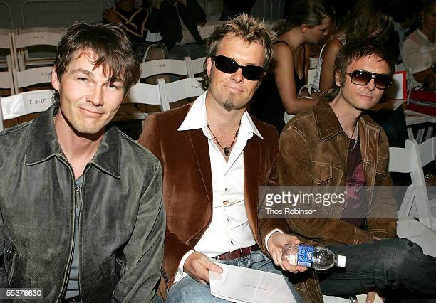 Morten Harket Magne Furuholmen and Paul WaaktaarSavoy of the band AHA attend the Strenesse Spring 2006 fashion show during Olympus Fashion Week at...