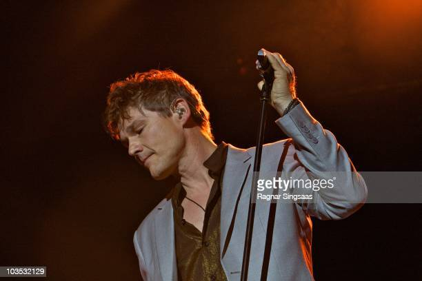 Morten Harket of Aha performs during their world tour before retiring at the end of the year at Ullevaal Stadion on August 21 2010 in Oslo Norway