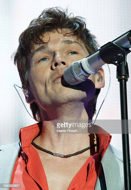 Morten Harket of aha performs on stage during the 'Ending On A High Note Farewell Tour 2010' at the O2 World on October 29 2010 in Berlin Germany