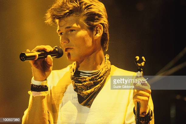 Morten Harket of Norwegian group Aha performs on stage at the Montreux Rock Festival held in Montreux Switzerland in May 1987