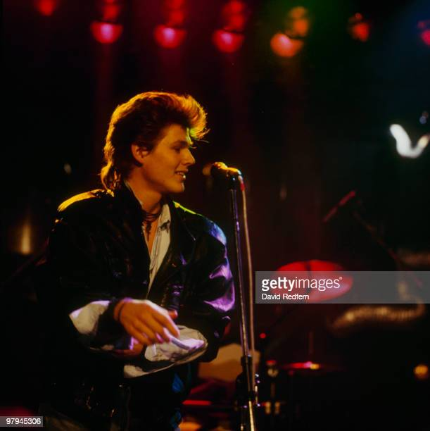 Morten Harket of Norwegian group Aha performs on stage at the Montreux Rock Festival held in Montreux Switzerland in May 1986