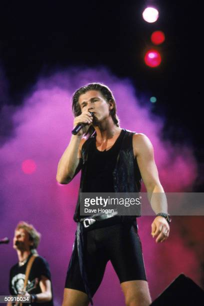 Morten Harket of Norwegian pop group AHa in concert circa 1985