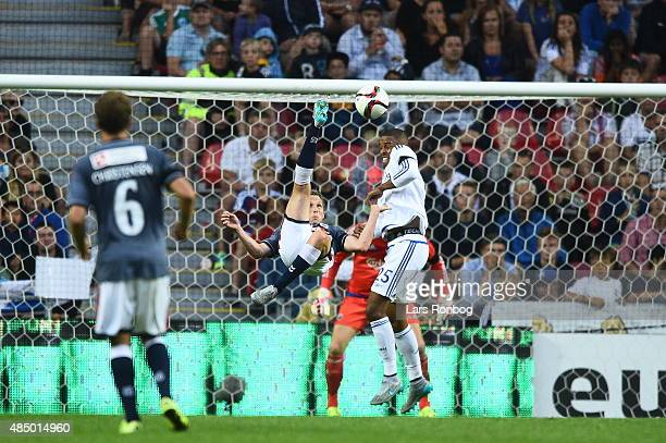Morten Nordstrand of AGF Aarhus scores the 22 goal with a over the head shot during the Danish Alka Superliga match between FC Copenhagen and AGF...