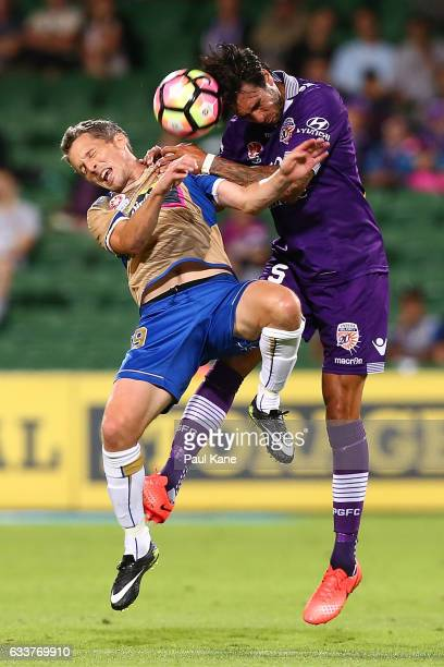Morten Nordstrand of the Jets and Rhys Williams of the Glory contest for the ball during the round 18 ALeague match between the Perth Glory and the...