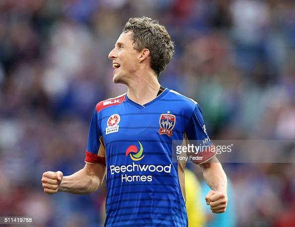 Morten Nordstrand of the Jets celebrates a goal during the round 20 ALeague match between the Newcastle Jets and Wellington Phoenix at Hunter Stadium...