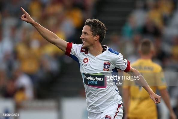 Morten Nordstrand of the Jets celebrates a goal during the round 27 ALeague match between the Central Coast Mariners and the Newcastle Jets at...