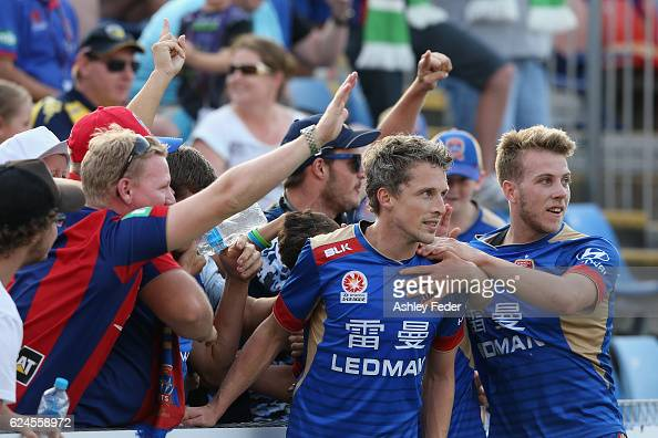 Morten Nordstrand of the Jets celebrates with team mates during the round seven ALeague match between the Newcastle Jets and the Central Coast...