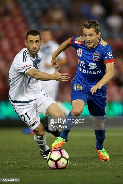 Morten Nordstrand of the Jets controls the ball from Carl Valeri of the Victory during the round 19 ALeague match between the Newcastle Jets and...