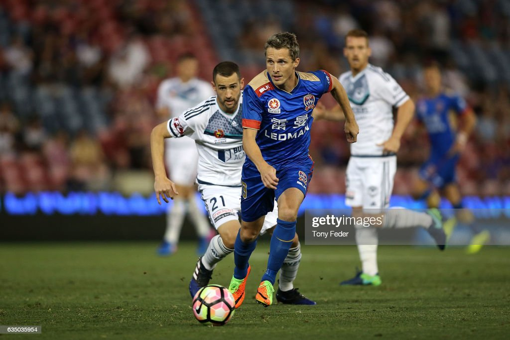 Morten Nordstrand of the Jets controls the ball from Carl Valeri of the Victory during the round 19 A-League match between the Newcastle Jets and Melbourne Victory at McDonald Jones Stadium on February 13, 2017 in Newcastle, Australia.