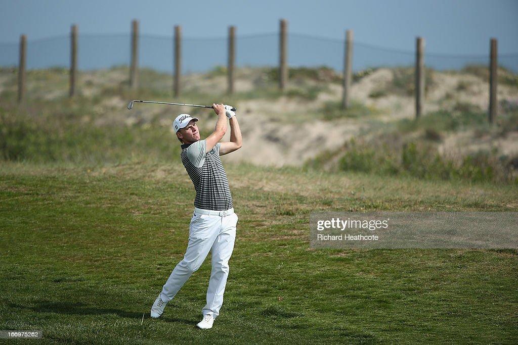 Morten Orum Madsen of Denmark plays into the 8th green during the second round of the Open de Espana at Parador de El Saler on April 19 2013 in...