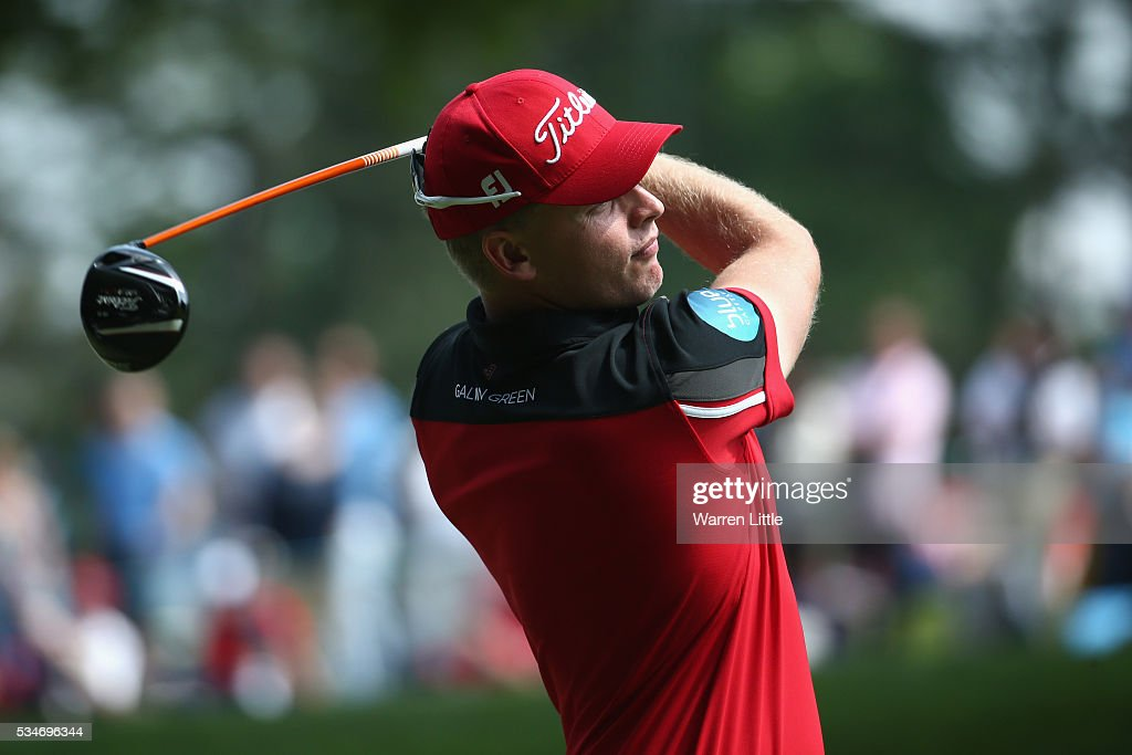 Morten Orum Madsen of Denmark tees off on the 3rd hole during day two of the BMW PGA Championship at Wentworth on May 27, 2016 in Virginia Water, England.