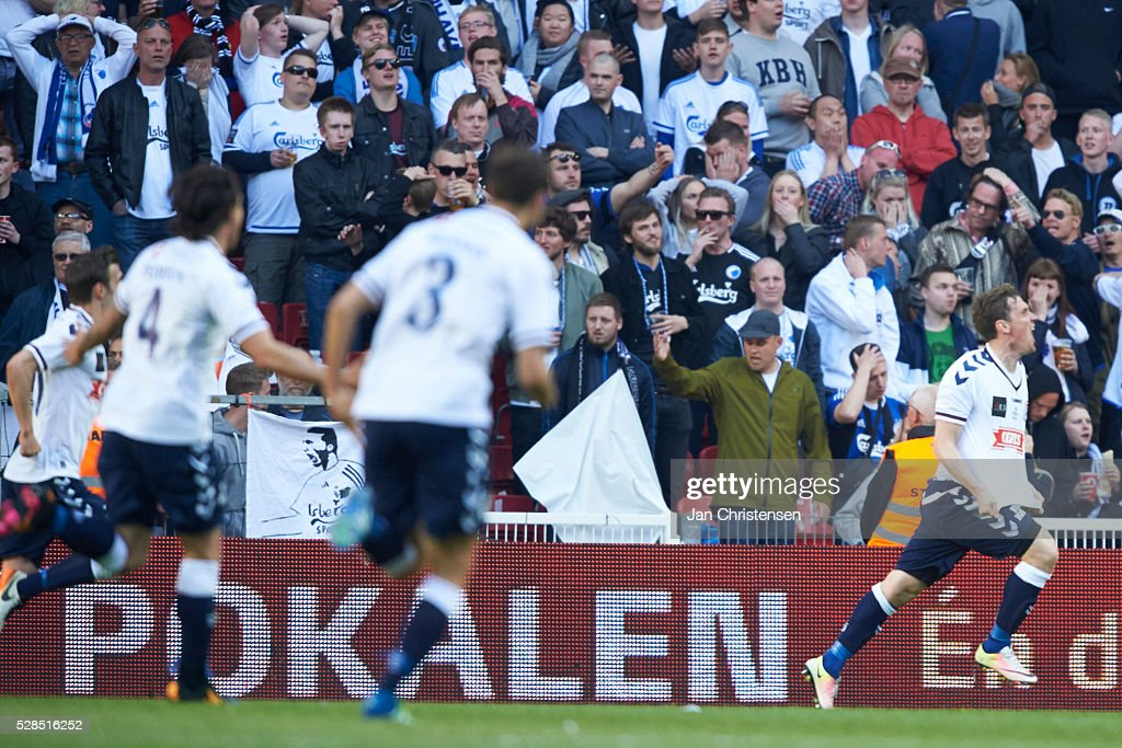 Morten Rasmussen of AGF Arhus celebrate after his 1-1 goal during the DBU Pokalen Cup Final match between AGF Arhus and FC Copenhagen at Telia Parken Stadium on May 05, 2016 in Copenhagen, Denmark.