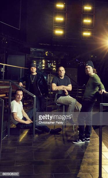 Morten Ristorp Mark Falgren Cameron Strang [chairman/CEO Warner Bros Records] and Lukas Forchhammer of danish pop and soul band Lukas Graham are...