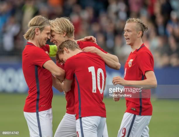 Morten Thorsby Iver Fossum Martin Odegaard Birk Risa of Norway celebrates goal during the Qualifying Round European Under 21 Championship 2019...