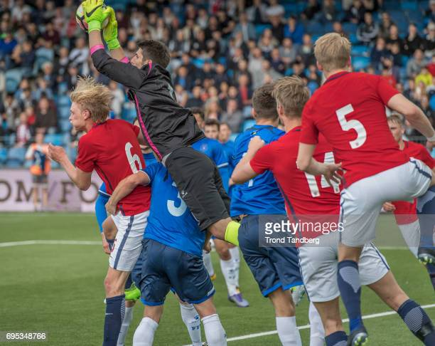 Morten Thorsby Kristoffer Ajer Andreas HancheOlsen of Norway Visar Bekaj of Kosovo during the Qualifying Round European Under 21 Championship 2019...