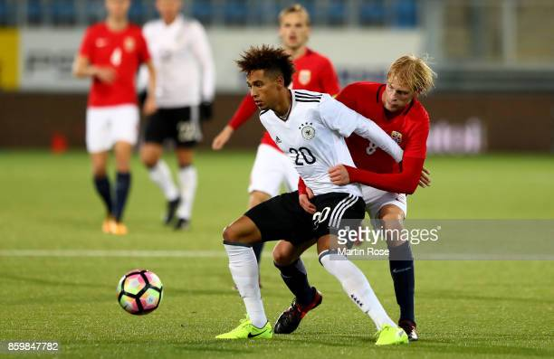 Morten Thorsby of Norway and Thilo Kehrer of Germany battle for the ball during the UEFA Under21 Euro 2019 Qualifier match between U21 of Norway and...