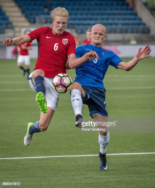 Morten Thorsby of Norway Arian Kabashi of Kosovo during the Qualifying Round European Under 21 Championship 2019 between Norway v Kosovo at Ullevaal...