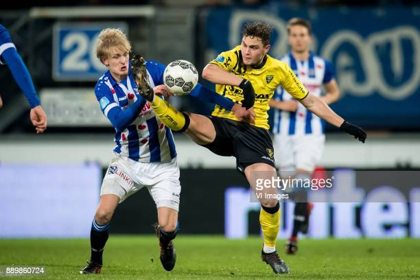 Morten Thorsby of sc Heerenveen Damian van Bruggen of VVV during the Dutch Eredivisie match between sc Heerenveen and VVV Venlo at Abe Lenstra...