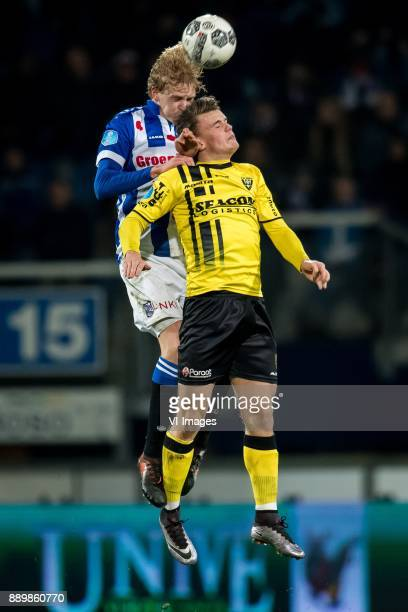 Morten Thorsby of sc Heerenveen Vito van Crooij of VVV during the Dutch Eredivisie match between sc Heerenveen and VVV Venlo at Abe Lenstra Stadium...