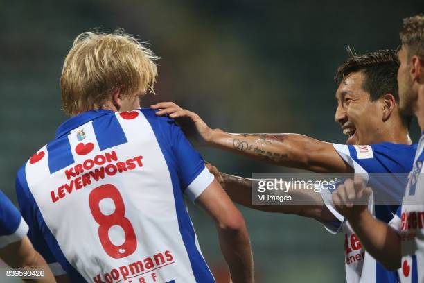 Morten Thorsby of sc Heerenveen Yuki Kobayashi of sc Heerenveen during the Dutch Eredivisie match between ADO Den Haag and sc Heerenveen at Kyocera...