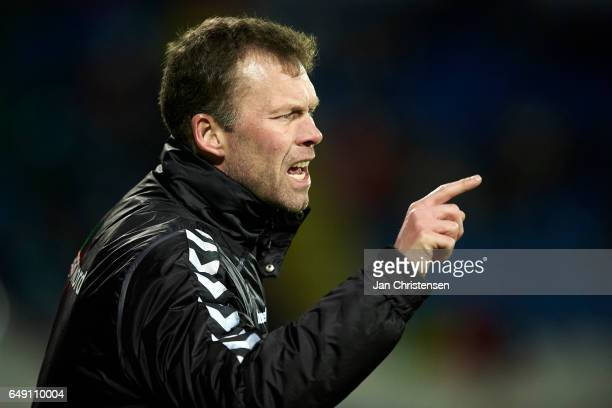 Morten Wieghorst head coach of AaB Aalborg gives instructions during the Danish Alka Superliga match between OB Odense and AaB Aalborg at TREFOR Park...