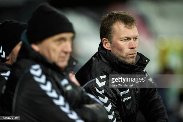 Morten Wieghorst head coach of AaB Aalborg looks on during the Danish Alka Superliga match between OB Odense and AaB Aalborg at TREFOR Park on March...
