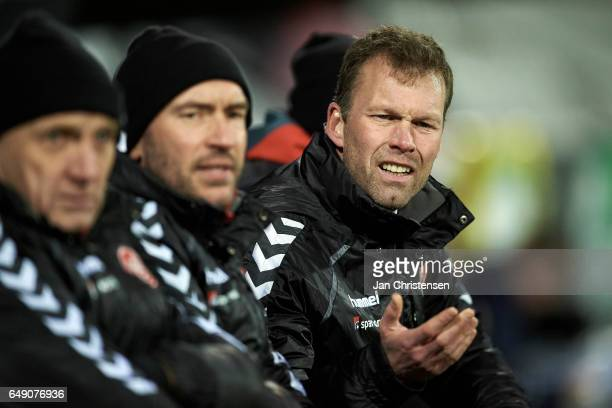Morten Wieghorst head coach of AaB Aalborg shows frustrations during the Danish Alka Superliga match between OB Odense and AaB Aalborg at TREFOR Park...