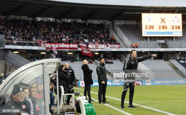 Morten Wieghorst head coach of AaB in action during the Danish Alka Superliga match between AGF Aarhus and AaB Aalborg at Ceres Park on February 19...