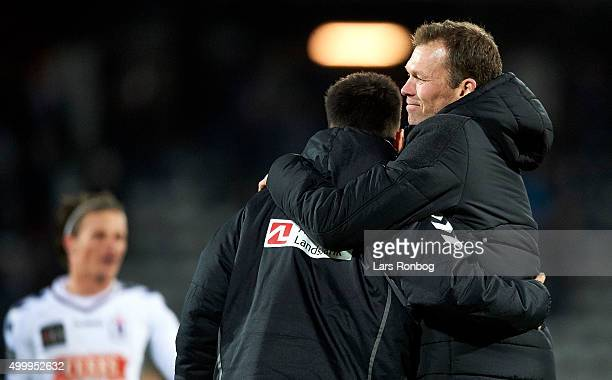 Morten Wieghorst head coach of AGF Aarhus celebrates after the Danish Alka Superliga match between AGF Aarhus and FC Midtjylland at Ceres Park on...