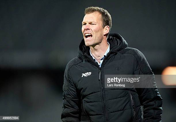 Morten Wieghorst head coach of AGF Aarhus gives instructions during the Danish Alka Superliga match between AGF Aarhus and FC Midtjylland at Ceres...