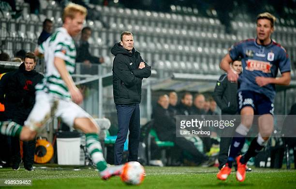 Morten Wieghorst head coach of AGF Aarhus looks on from the touchline during the Danish Alka Superliga match between Viborg FF and AGF Aarhus at...