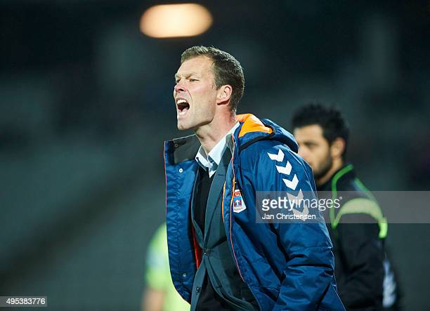 Morten Wieghorst head coach of AGF Arhus gives instructions during the Danish Alka Superliga match between AGF Arhus and SonderjyskE at Ceres Park on...