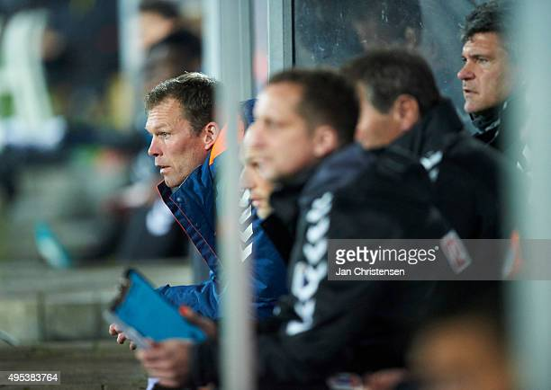 Morten Wieghorst head coach of AGF Arhus looks on during the Danish Alka Superliga match between AGF Arhus and SonderjyskE at Ceres Park on November...