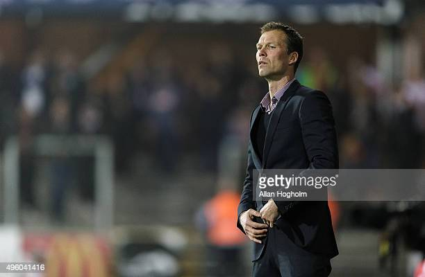 Morten Wieghorst head coach of AGF in action during the Danish Alka Superliga match between Randers FC and AGF Aarhus at BioNutria Park on November 6...