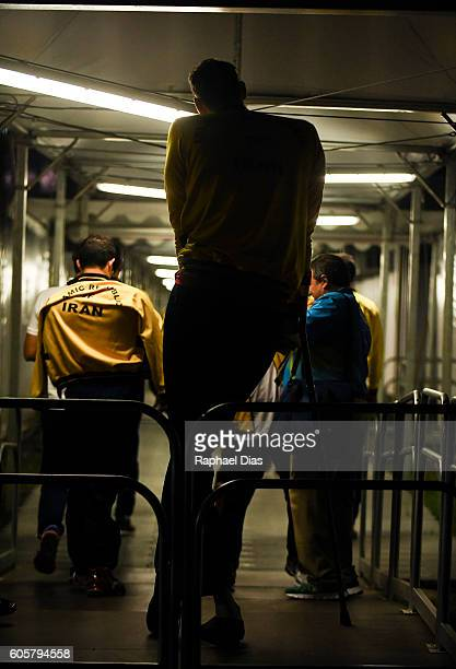 Morteza Mehrzadselakjani of Iran leaving the arena after Mens Sitting Volleyball match between Iran and Ukraine on day 7 of the Rio 2016 Paralympic...