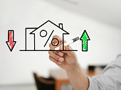 """Businessman drawing """"house and mortgage rates""""  on a virtual glass board"""