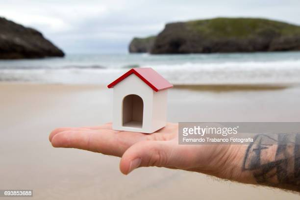 Mortgage, Tattooed man holds a house on the beach, urban speculation