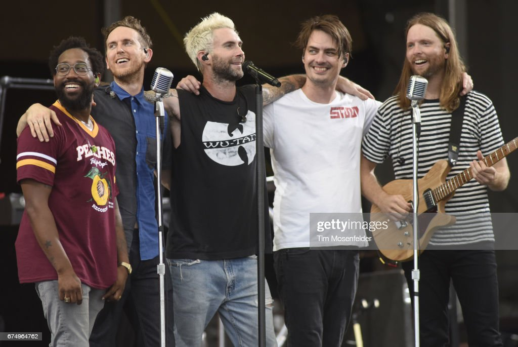 PJ Morton, Jesse Carmichael, Adam Levine, Matt Flynn and James Valentine of Maroon 5 perform during the 2017 New Orleans Jazz & Heritage Festival at Fair Grounds Race Course on April 29, 2017 in New Orleans, Louisiana.
