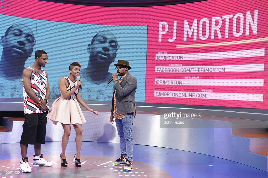 <a gi-track='captionPersonalityLinkClicked' href=/galleries/search?phrase=PJ+Morton&family=editorial&specificpeople=1054852 ng-click='$event.stopPropagation()'>PJ Morton</a> visits BET's 106 & Park at BET Studios on April 15, 2013 in New York City.