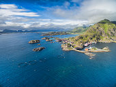 Scenic aerial view of small fishing village Mortsund on Lofoten in Norway