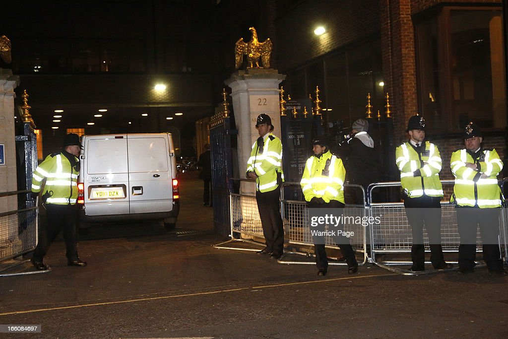 A mortuary van arrives to transport the body of former British Prime Minister Margaret Thatcher from The Ritz Hotel on April 8, 2013 in London, England. Lady Thatcher died this morning following a stroke at age 87. She was the first female British Prime Minster and governed the UK from 1979 to 1990. She led the UK through some turbulent years and contentious issues including the Falklands War, the miner's strike and the Poll Tax riots.