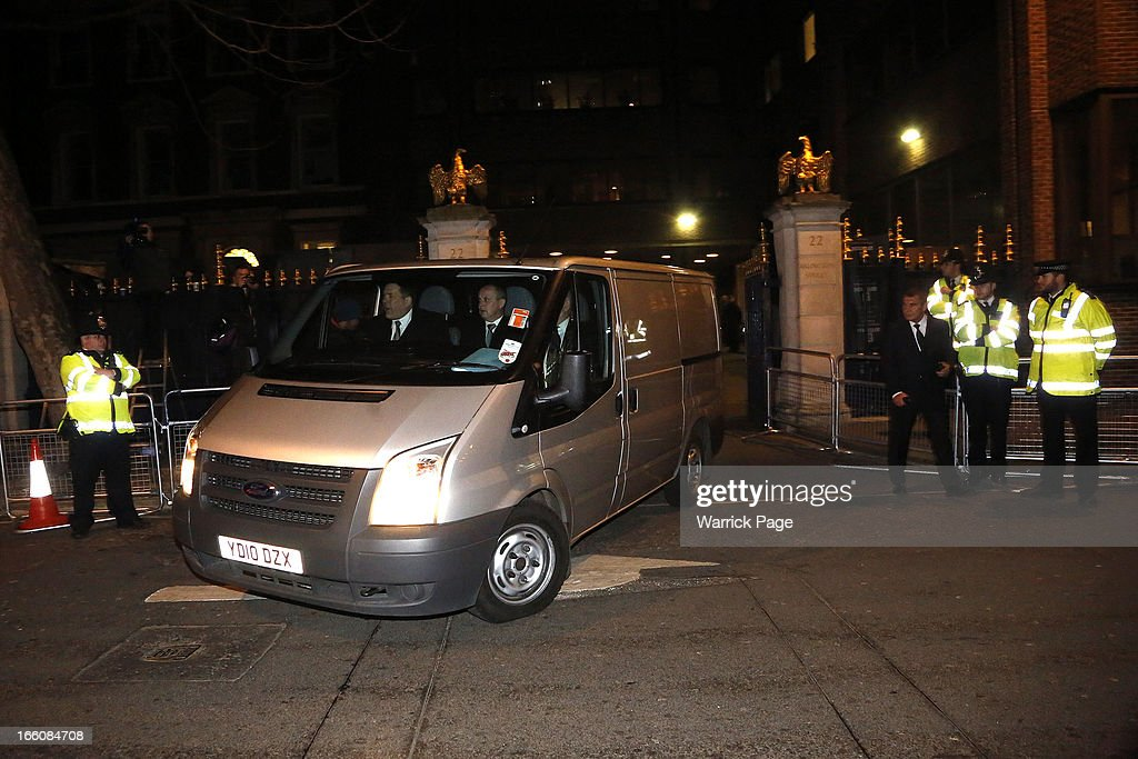 A mortuary van departs the Ritz Hotel with the body of former British Prime Minister Margaret Thatcher on April 8, 2013 in London, England. Lady Thatcher died this morning following a stroke at age 87. She was the first female British Prime Minster and governed the UK from 1979 to 1990. She led the UK through some turbulent years and contentious issues including the Falklands War, the miner's strike and the Poll Tax riots.