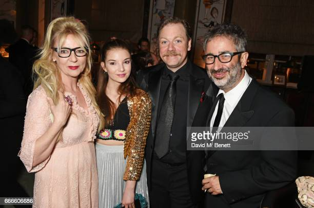 Morwenna Banks Dolly Loveday Rufus Hound and David Baddiel attend The Olivier Awards 2017 after party at Rosewood London on April 9 2017 in London...