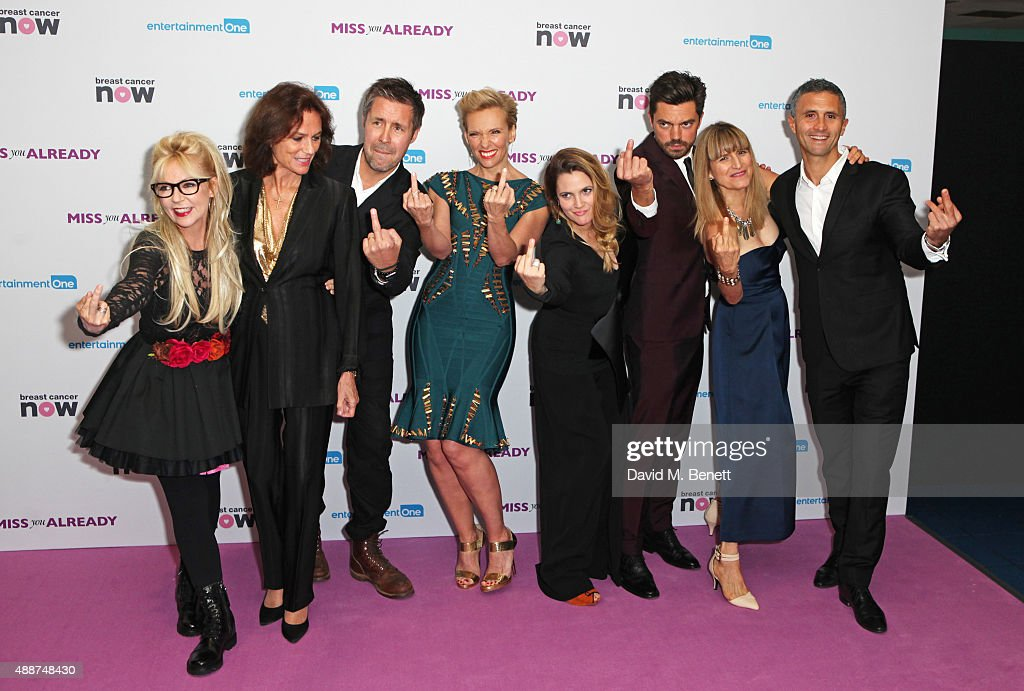 Morwenna Banks, Jacqueline Bisset, Paddy Considine, Toni Collette, Drew Barrymore, Dominic Cooper, director Catherine Hardwicke and producer Chris Simon attend the European Premiere of 'Miss You Already' at Vue West End on September 17, 2015 in London, England.