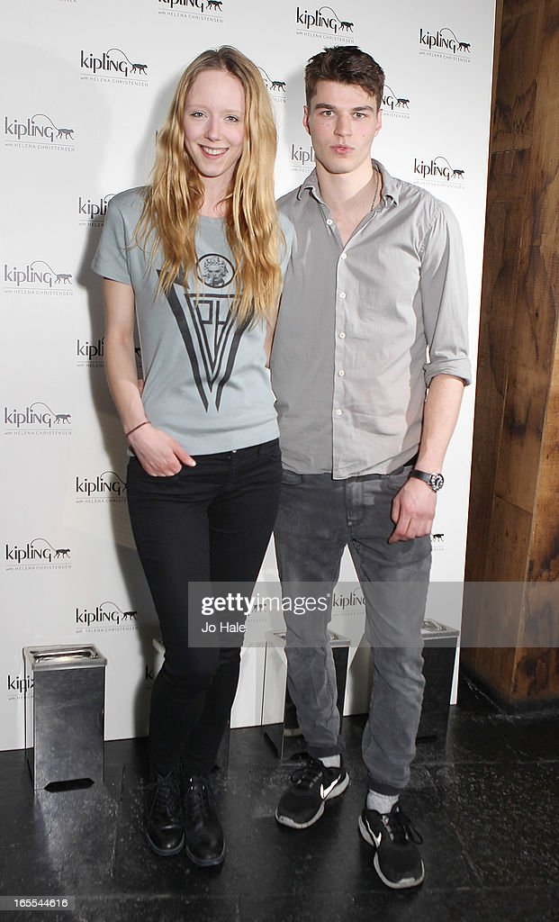 Morwenna Lytton Cobbold and Aaron Sly attend the launch of new hangbag collection 'Kipling x Helena Christensen' at Beach Blanket Babylon on April 4, 2013 in London, England.