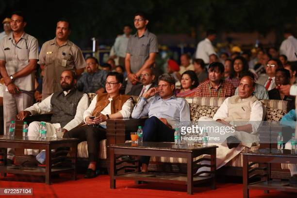MoS Home Affairs Kiren Rijiju former Cricketer Kapil Dev and Home Minister Rajnath Singh during the launch of Oorja by CAFP U19 Football Talent...