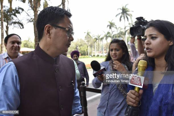 MoS Home Kiren Rijiju at Parliament during the Budget Session on March 27 2017 in New Delhi India
