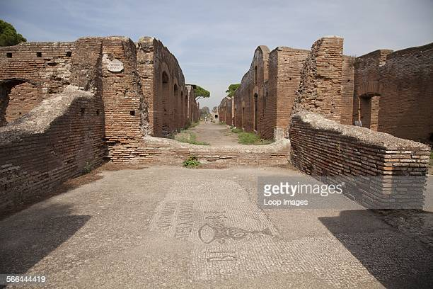 Mosaic at Insula del Soffitto Dipinto in the ancient roman port town ruin of Ostia near Rome