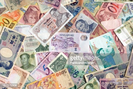 Mosaic collection of world currencies